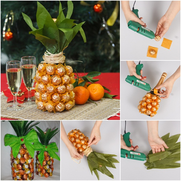 Creative-gift-wrap-ideas-unique-pineapple-chocolates-wine-bottle