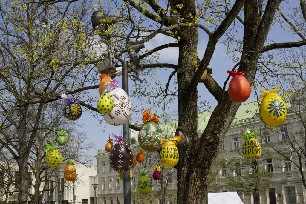 Decorative Easter Eggs Hanging On A Tree